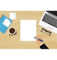 Realistic workplace organization vector image vector image
