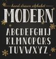 Hand drawn modern font vector image