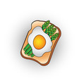 egg toast with green salad healthy breakfast fresh vector image