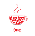 Love teacup with hearts Love card vector image