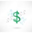 Dollar sign footprint grunge icon vector image