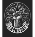 Labor day poster on the chalkboard vector image