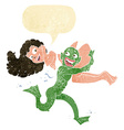 cartoon swamp monster carrying girl in bikini with vector image