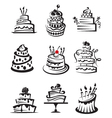 Set of cakes vector image