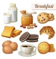 Breakfast 3 Set of cartoon food icons vector image