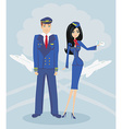 A pilot and stewardess in uniform vector image