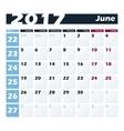 Calendar 2017 June design template Week vector image