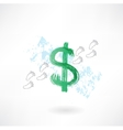 Dollar sign footprint grunge icon vector image