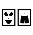 icons for toilet room with bikini and panties vector image