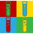 Pop art laboratory glass icons vector image