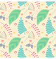 A seamless pattern with leaves and flowers vector image