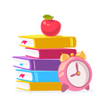 colorful of stack of books red apple and bi vector image