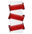 Three red banners on blank vector image vector image