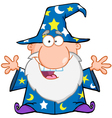 Happy Wizard With Open Arms Vector Image