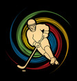 hockey player pose graphic vector image