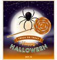 Halloween spider with lollipop candy and type vector image