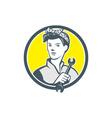 Female Mechanic Worker Holding Wrench Retro vector image