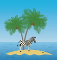 Lonely zebra on the island with a palm tree vector image