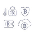bitcoin wallet in the cloud protection set icon vector image