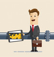 businessman oil and gas industry oil pipe line and vector image