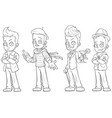 cartoon handsome guys with alcohol character set vector image