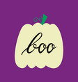 halloween pumpkin with inscription boo vector image