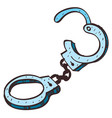 handcuffs colored in hand drawing style vector image