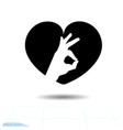 heart black icon love symbol ok icon in heart vector image