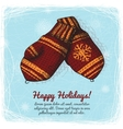 Knitted wool mittens background vector image