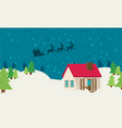 santa claus riding on sleigh flat vector image