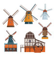 set of traditional rural windmill and watermill vector image