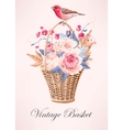Vintage basket with flowers vector image