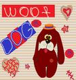 0615 11 dog card v vector image