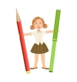 Girl In School Uniform With Giant Pencil And vector image