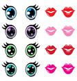 Kawaii cute eyes and lips icons set vector image