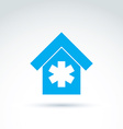 blue medical building simple hospital icon vector image