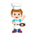 chef frying egg vector image