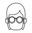 cute girl with glasses cartoon vector image