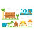 Flat design beautiful Thai village vector image