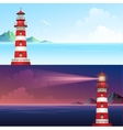 Lighthouse during day and night horizontal banner vector image