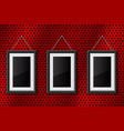 three black empty pictures on red metal perforated vector image