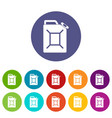 fuel jerrycan icons set flat vector image