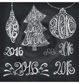 2016 year typography hand drawn titlesChalk vector image