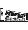 Vehicles at gasoline station vector image