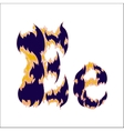 fiery font blue letter E on a white background vector image