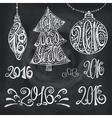 2016 year typography hand drawn titlesChalk vector image