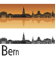 Bern skyline in orange background vector image