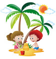 boy and girl building sandcastle vector image