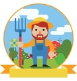 Farmer with pitchfork on farm garden background vector image