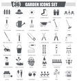 Garden black icon set Dark grey classic vector image